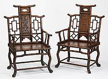 (2) Chinese carved huanghuali armchairs