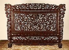 Massive pierce carved room divider