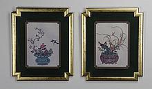 (2) 20th c. framed mixed media on linen