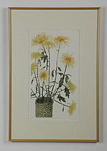 (4) 20th c. framed floral prints, one signed