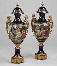 (2) 20th c. Sevres style porcelain urns