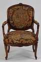 19th c. carved walnut chair w/needlepoint