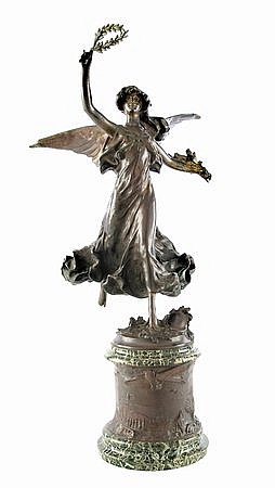 Early 20th c. bronze sculpture on marble base