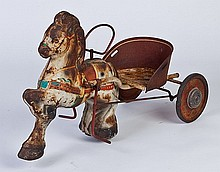 Mid 20th c. child's pedal horse and wagon