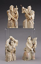 (4) Carved ivory Japanese Samurai warriors