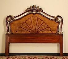 Parcel gilt mahogany queen size headboard