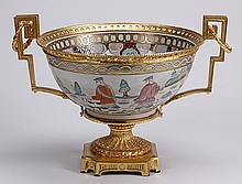 Gilt mounted porcelain centerpiece