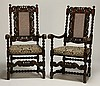 (2) 19th c. English carved oak armchairs