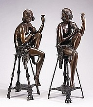 (2) Art Deco style bronze sculptures