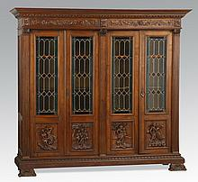 Early 20th c. Continental carved oak bookcase