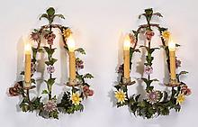 (2) Porcelain and tole wall sconces, 17