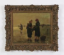French O/c, clamdiggers on seashore, signed