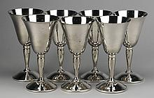 (7) Spanish silver plate goblets, 6