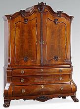 18th c. Dutch carved walnut linen press