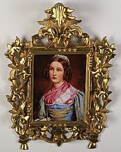 German porcelain portrait plaque, marked