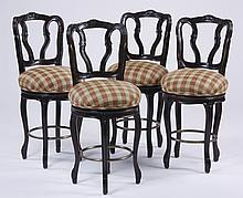 (4) French Provincial style bar stools