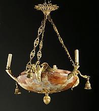 Bronze and alabaster chandelier