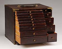 19th c. portable dental cabinet with tools