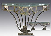 (2) Contemporary iron and glass consoles