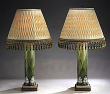 Pair of enameled opaline glass lamps, 32