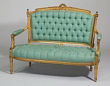 French boudoir settee w/button tufted brocade