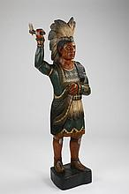 Carved and paint decorated cigar store Indian
