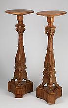 (2) 19th c. carved, gilt pedestals, 43