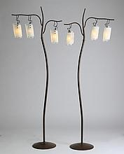 (2) Italian floor lamps with art glass shades