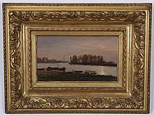 J. Sales signed O/c river landscape