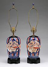 (2) Imari melon-form vases mounted as lamps