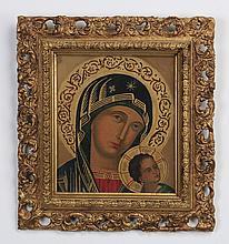 19th c. O/c Byzantine-inspired Virgin & Child