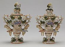 (2) 19th c. Sitzendorf lidded urns, marked