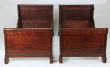 (2) American mahogany twin beds, 19th c.