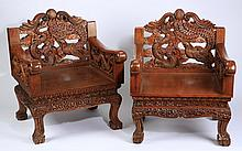 (2) Chinese dragon and phoenix armchairs