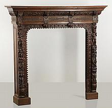 Jacobean style oak fireplace mantel, 19th c.