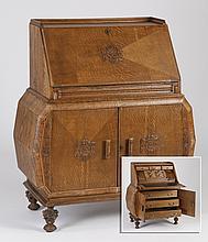 English Art Deco tiger oak secretary