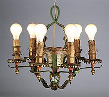 French art glass 'basket' chandelier, ca 1930
