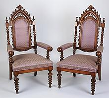 (2) Gothic Revival upholstered armchairs