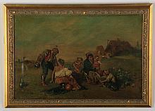19th c. Italian O/c, figures in a meadow