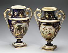 (2) 19th c. Derby porcelain vases, 11.75