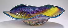 Contemporary art glass bowl, signed, 24