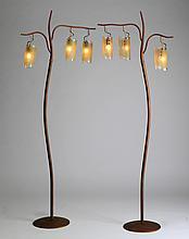 (2) Italian floor lamps with art glass shades