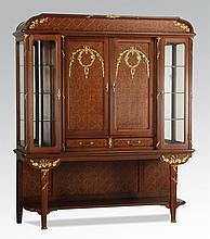 French bronze mounted walnut vitrine