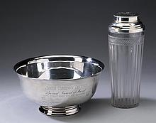 Engraved trophies, (1) plate and (1) sterling