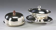 (2) Silver plate covered dishes