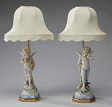 (2) 19th c. porcelain figural table lamps