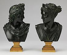 (2) Continental patinated metal busts, 12