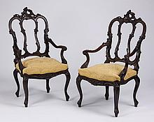 (2) 19th c. French carved oak armchairs