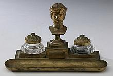 Continental bronze and crystal encrier
