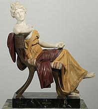 19th c. Italian marble, bronze figure, signed